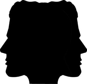 49_Dr Jekyll and Mr Hyde Scherenschnitt Profil_© Martin Hopfengart. Das Bild zeigt schattenförmig zwei Gesichter im Profil, die in entgegengesetzte Richtungen blicken.