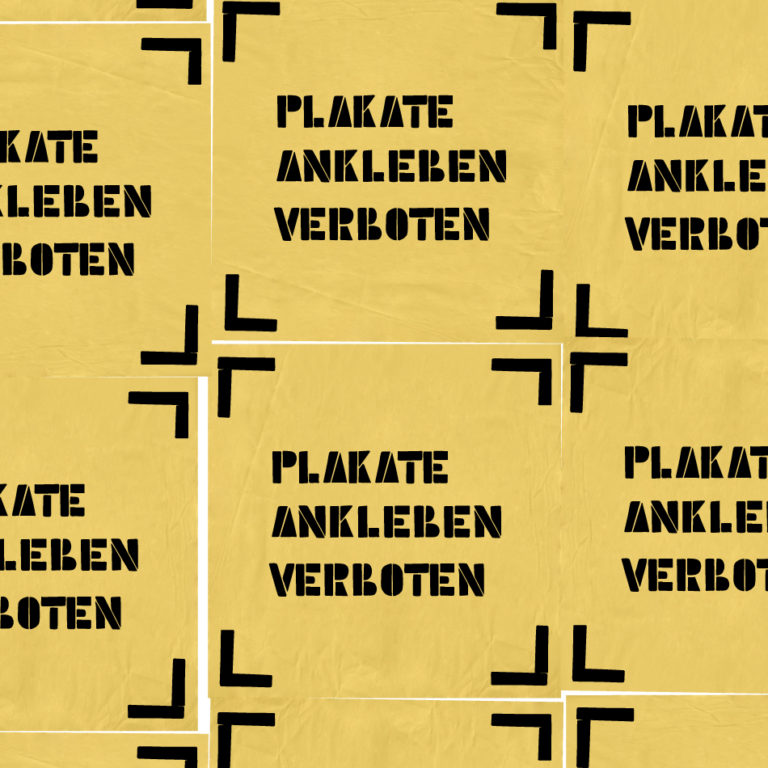 """Litfaßsäule mit aufgeklebten Plakaten. Auf allen Palakaten ist die gleiche Aufschrift: 'Plakate ankleben verboten"""""""
