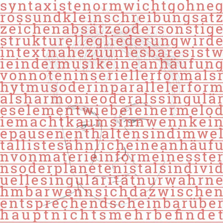 """Abbildung des Protagonisten hinter einer Schrift ohne Groß- und Kleinschreibung, ohne Interpunktion und ohne Satzzeichen: """"syntaxistenormwichtigohnegrossundkleinschreibungsatzzeichenabsätzeodersonstigestrukturellegliederungwirdeintextnahezuunlesbaresistwieindermusikeineanhäufungvonnoteninseriellerformalsrhytmusoderinparallelerformalsharmonieoderalssinguläreselementwiebeieinermelodiemachtkaumsinnwennkeinepausenenthaltensindimweltallistesähnlicheineanhäufunvonmaterieinformeinessternsoderplanetenistalsindividuellesingularitätnurwahrnehmbarwennsichdazwischenentsprechendscheinbarüberhauptnichtsmehrbefindet"""""""